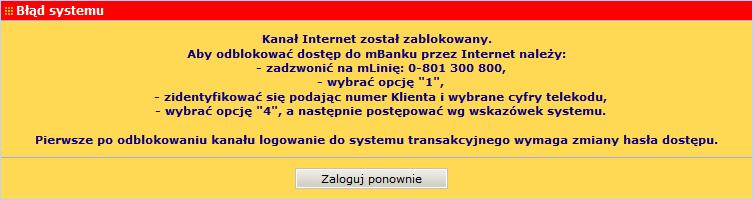 mbank kanał internet został zablokowany