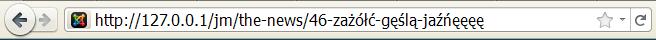 Polskie znaki w pasku adresu Joomla