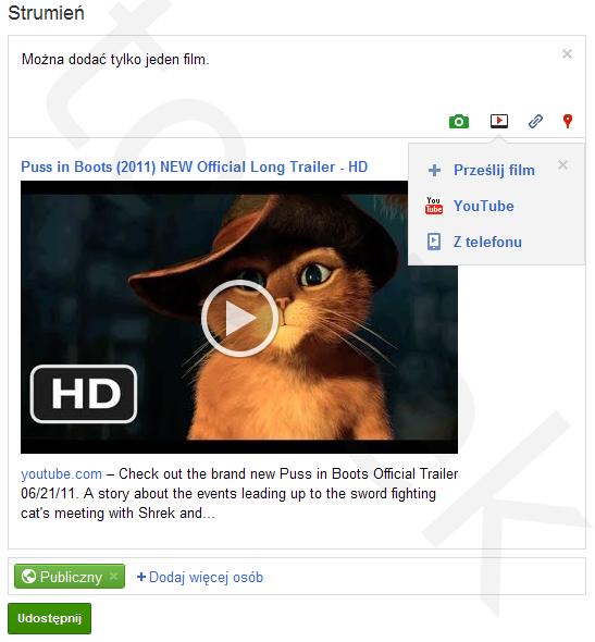 Dodawanie filmu video we wpisie w Google+