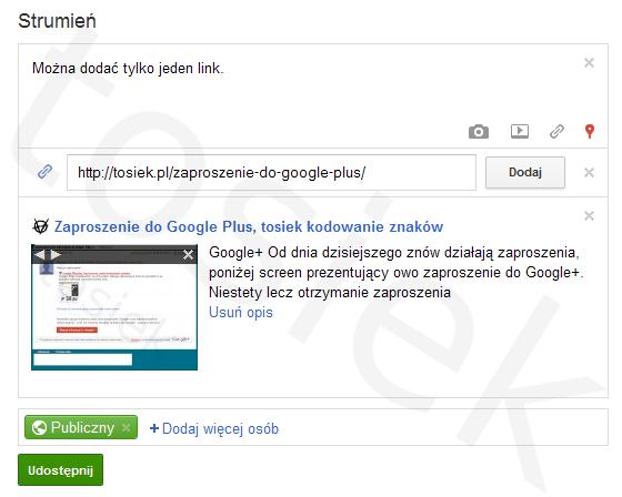 Dodawanie linków Google+