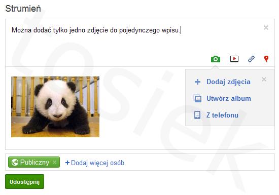 Dodawanie zdjęcia lub grafiki w Google+