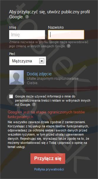 Formularz Rejestracji Google+