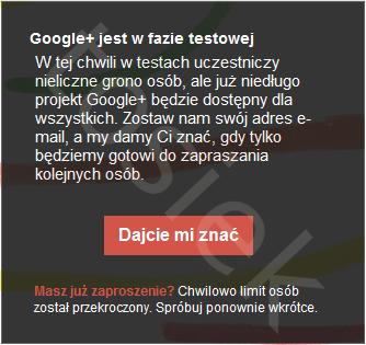 Zaproszenia Google Plus