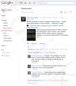 Strumienie aktualności kręgów Google+