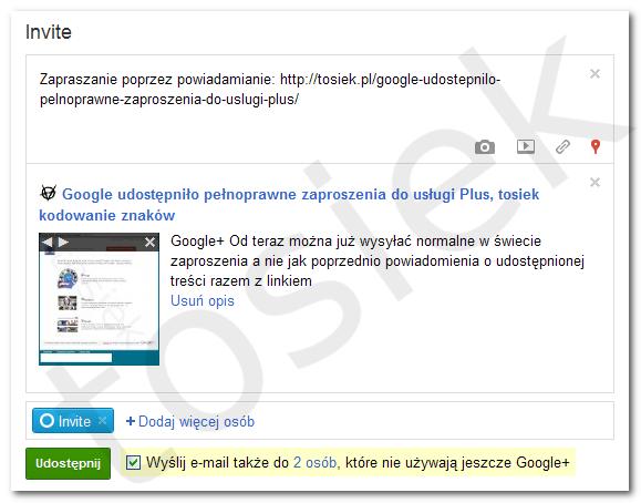 Dodawanie wpisu w strumieniu kręgu w Google+