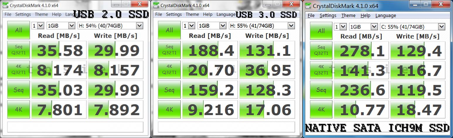 ORICO 2599US3 NORELSYS 106X SSD USB 2.0 USB 3.0 Native SATA Controller ICH9M crystaldiskmark test