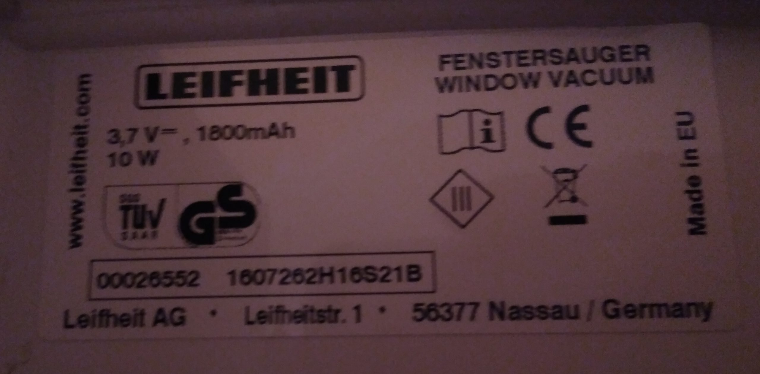 Leifheit Dry Clean 51000 Battery 3.7V